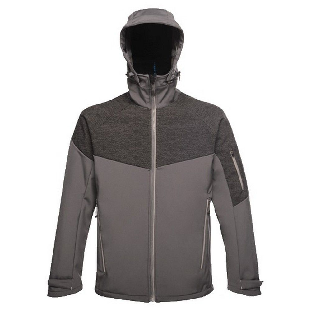 Regatta Professional Mens Dropzone II Reflective 3 Layer Softshell Jacket (Seal Grey/Black)
