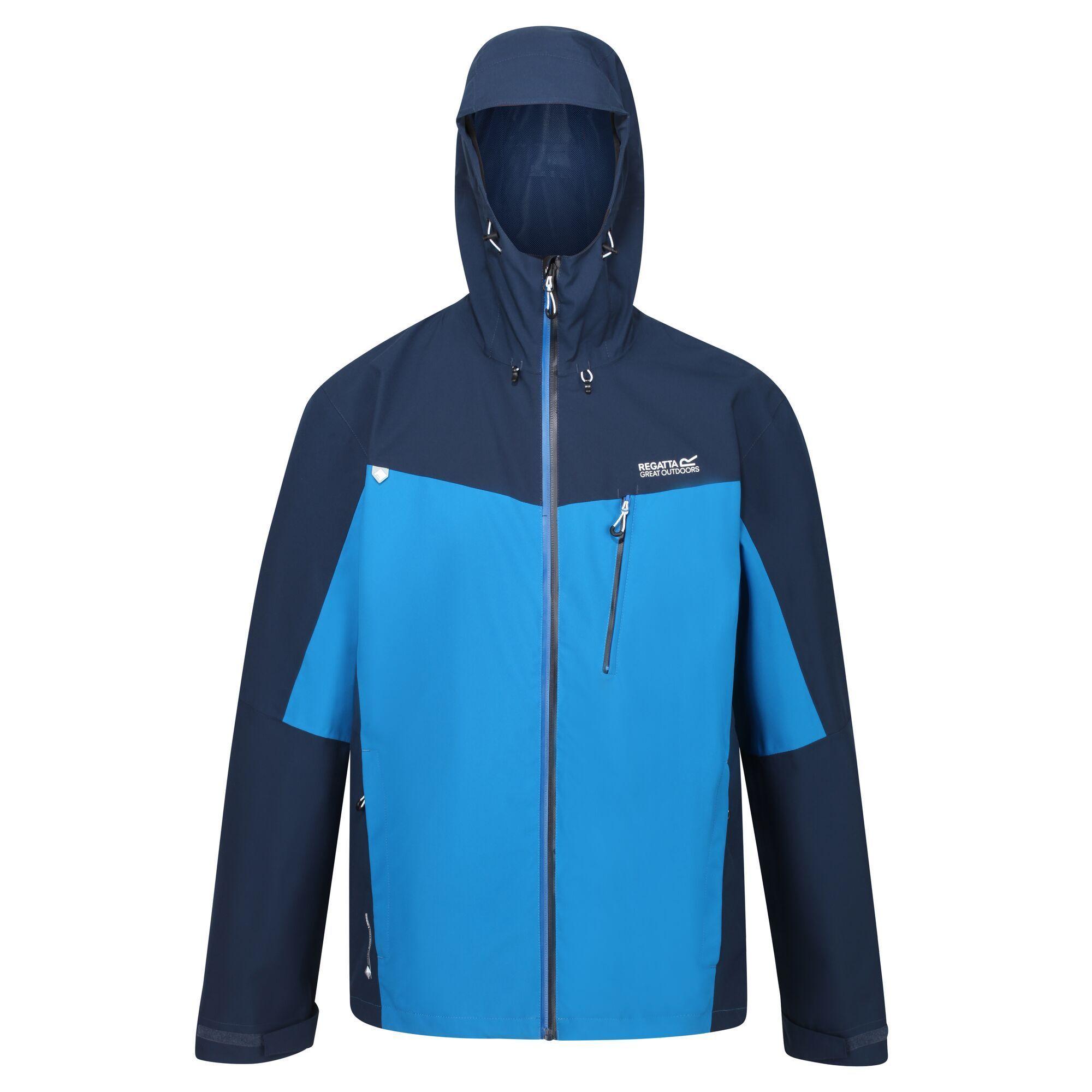 Regatta Mens Birchdale Waterproof Hooded Jacket (Imperial Blue/Nightfall Navy)