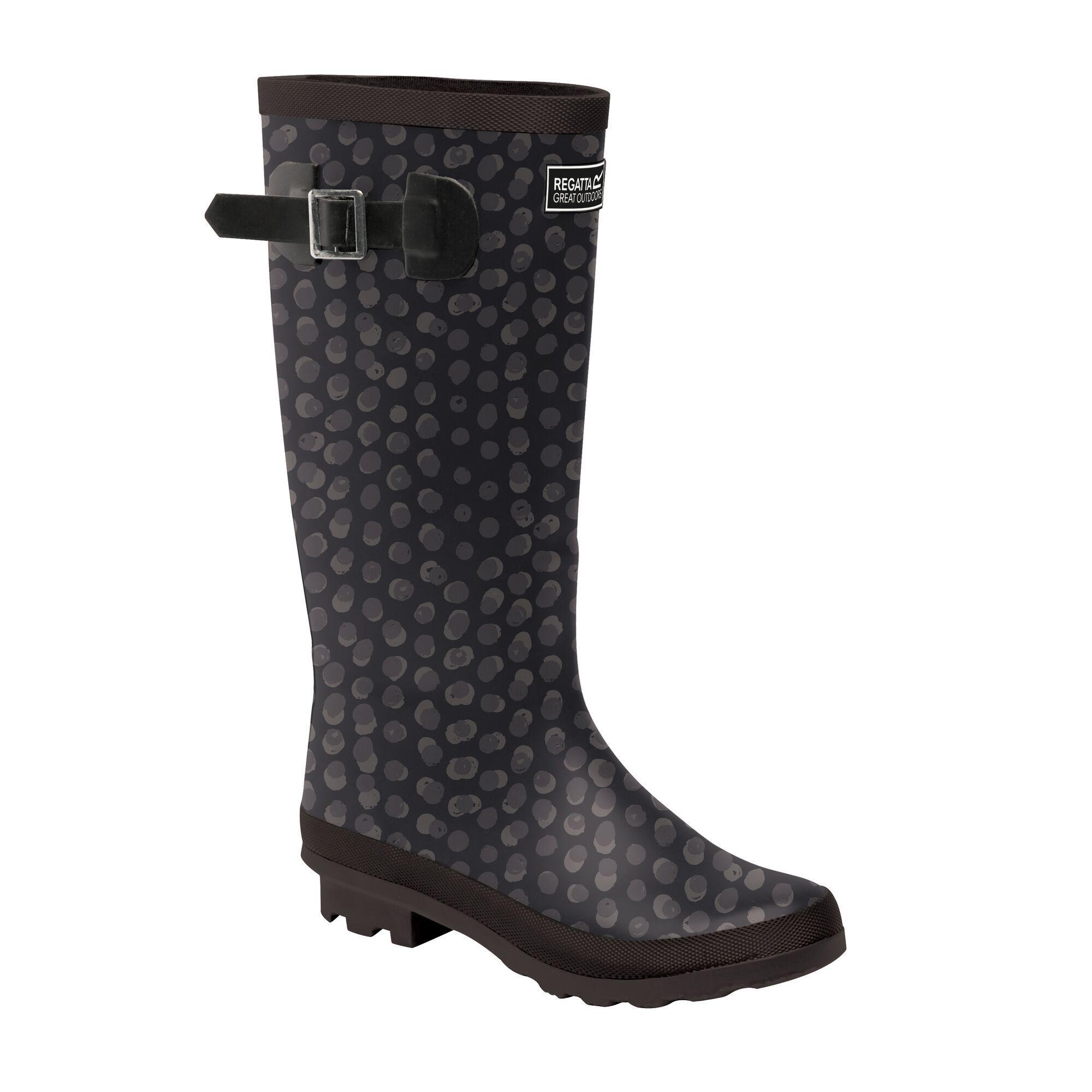 Regatta Womens/Ladies Ly Fairweather II Tall Durable Wellington Boots (Black Print)
