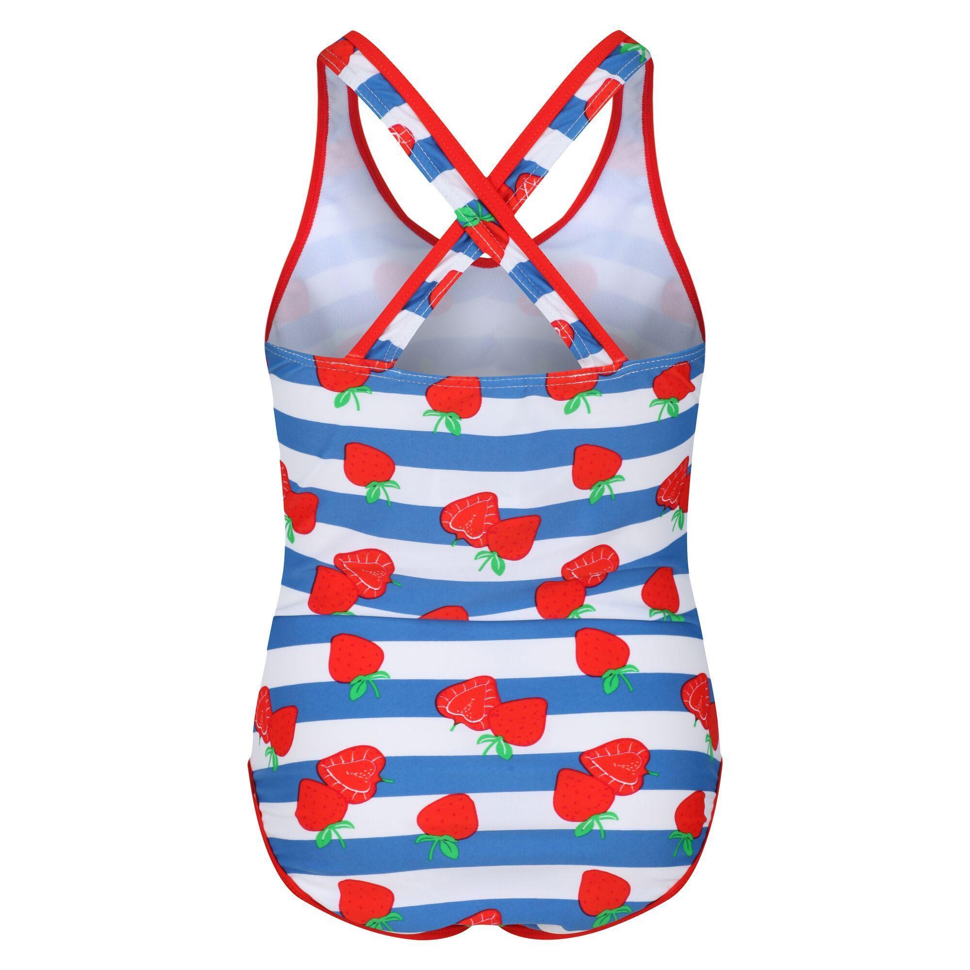 Regatta Girls Tanvi Swimming Costume (Fiery Red/Blue/White Stripe)