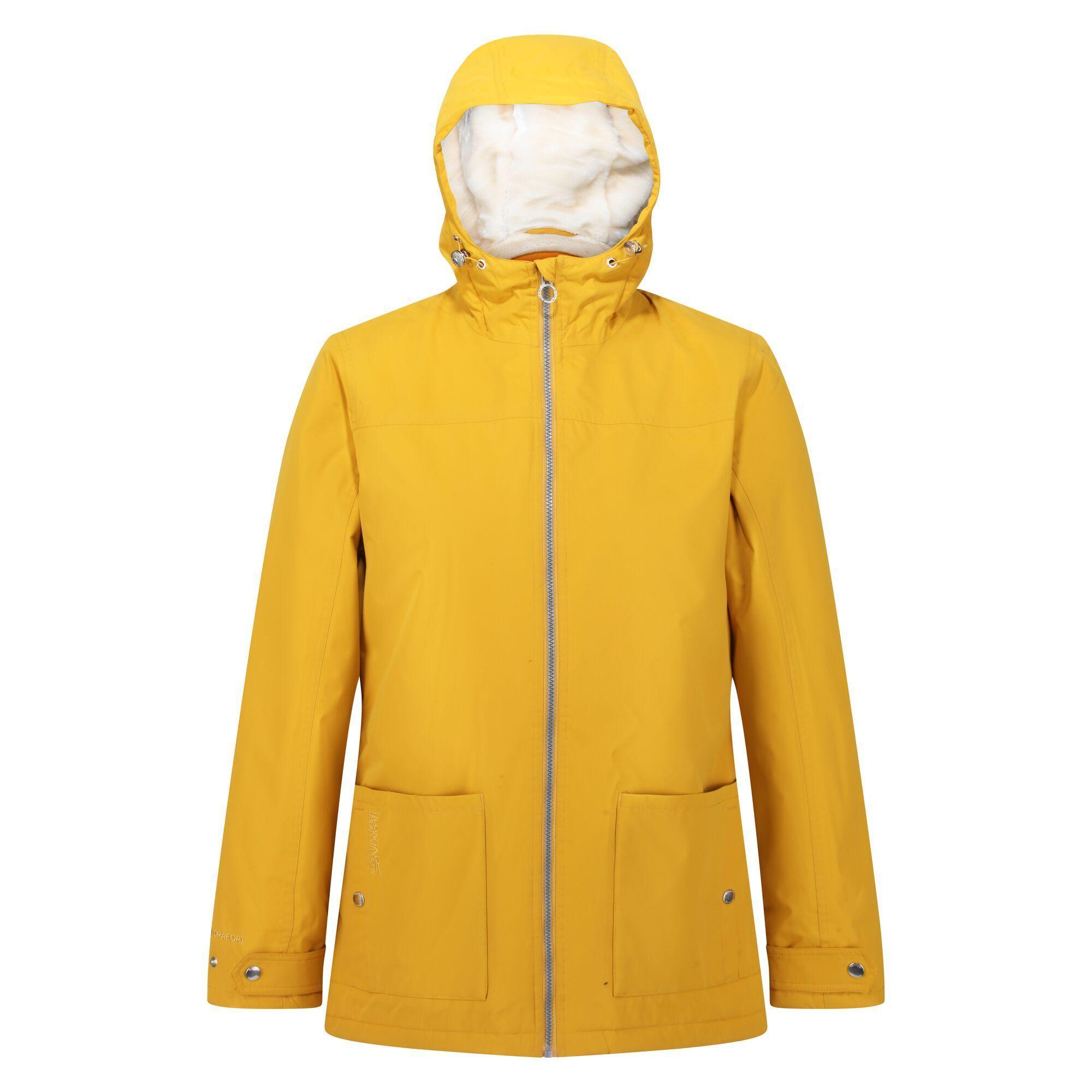 Regatta Womens/Ladies Bergonia II Hooded Waterproof Jacket (Mustard Seed)