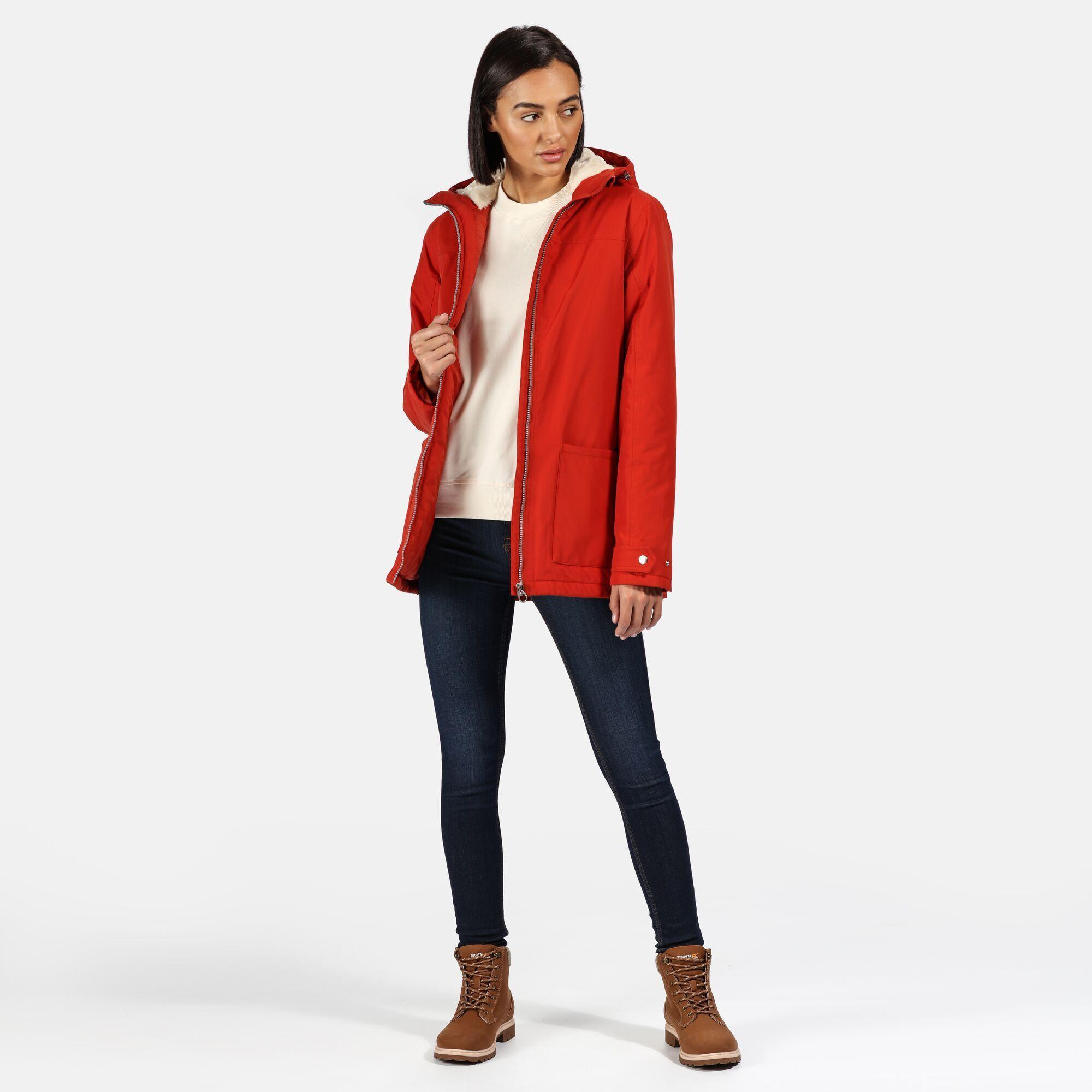 Regatta Womens/Ladies Bergonia II Hooded Waterproof Jacket (Burnt Tikka Red)