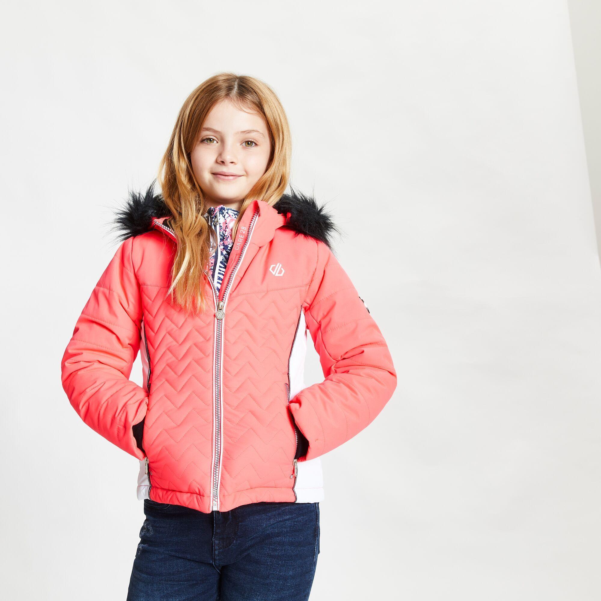 Dare 2B Childrens/Kids Snowdrop Ski Jacket (Neon Pink/White)