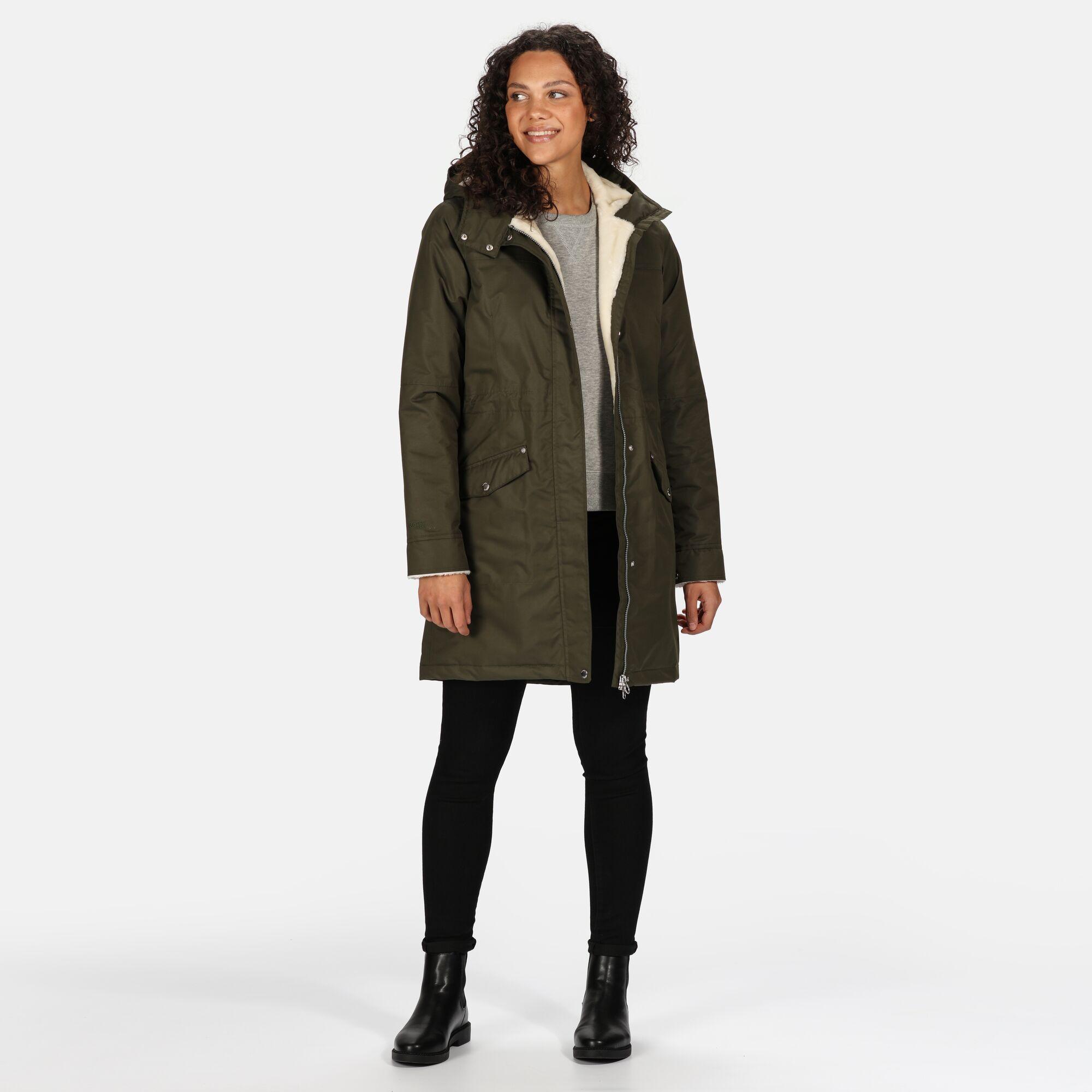 Regatta Womens/Ladies Rimona Hooded Waterproof Jacket (Dark Khaki)