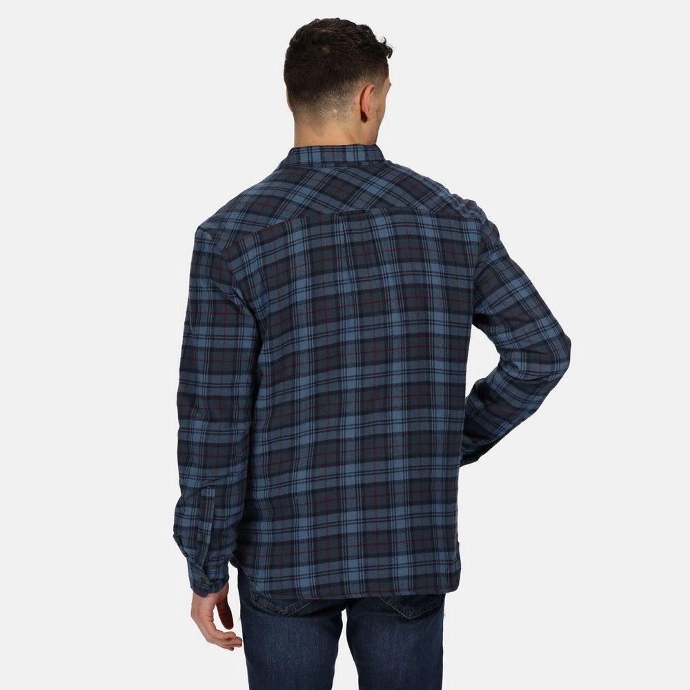 Regatta Mens Tavior Fleece Checked Long-Sleeved Shirt (Dark Denim)