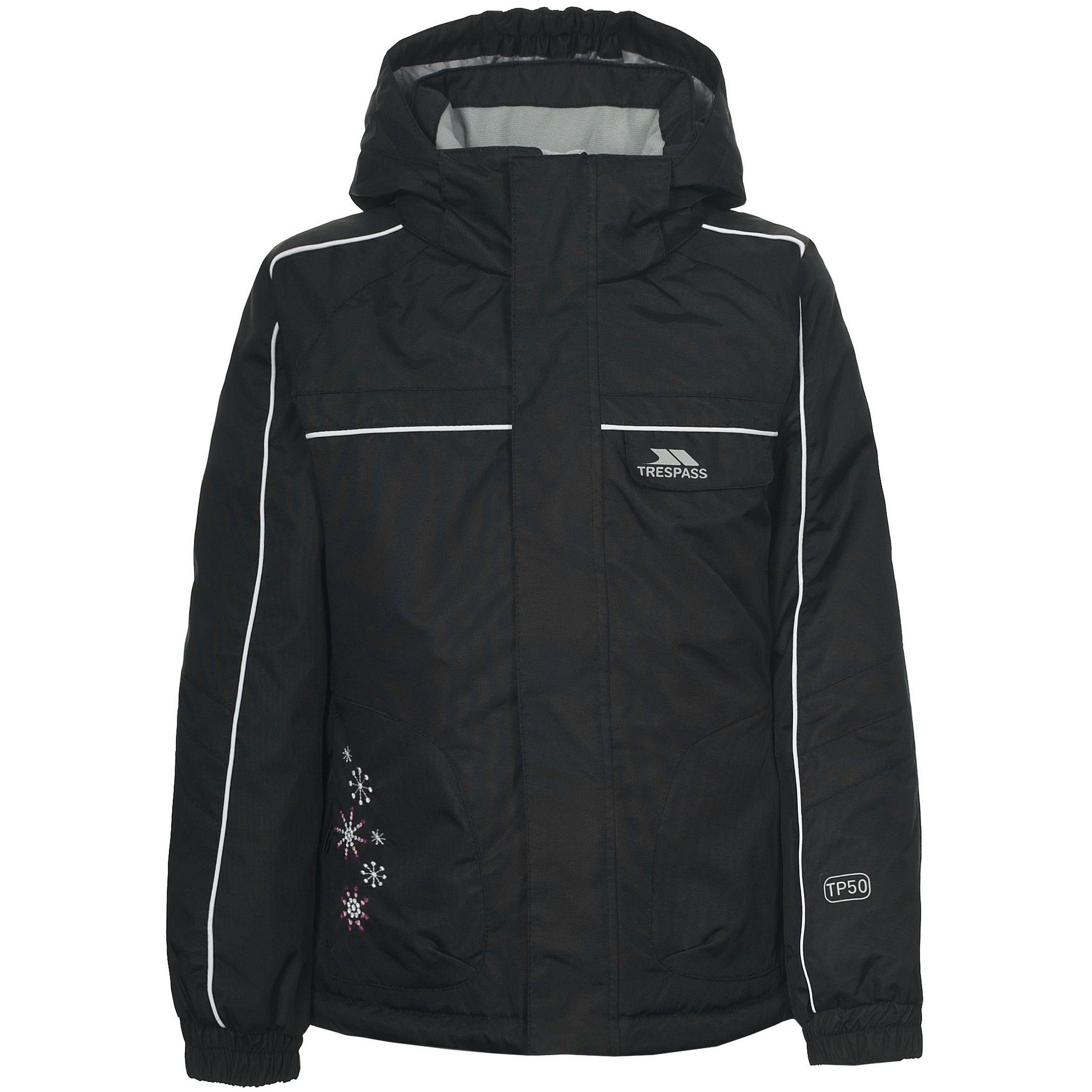 Trespass Childrens Girls Jaya Water Resistant Ski Jacket (Black)