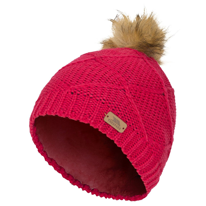 Trespass Childrens Girls Tanisha Faux Fur Winter Beanie
