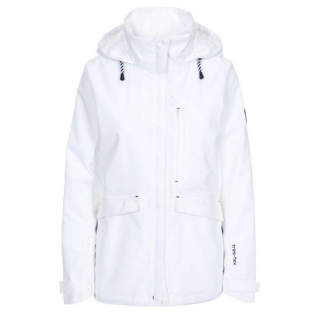 Trespass Womens/Ladies Voyage Waterproof Long-Sleeved Waterproof Jacket (White)