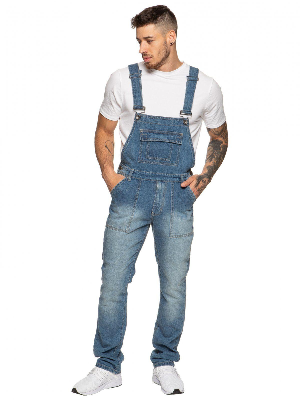 Designer Mens Blue Fashionable Denim Overall Dungarees | Enzo Designer Menswear