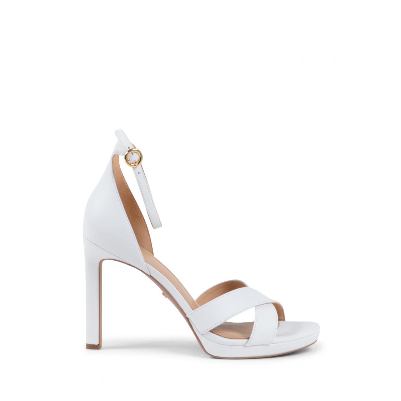 Michael Kors Womens Ankle Strap Sandal White ALEXIA