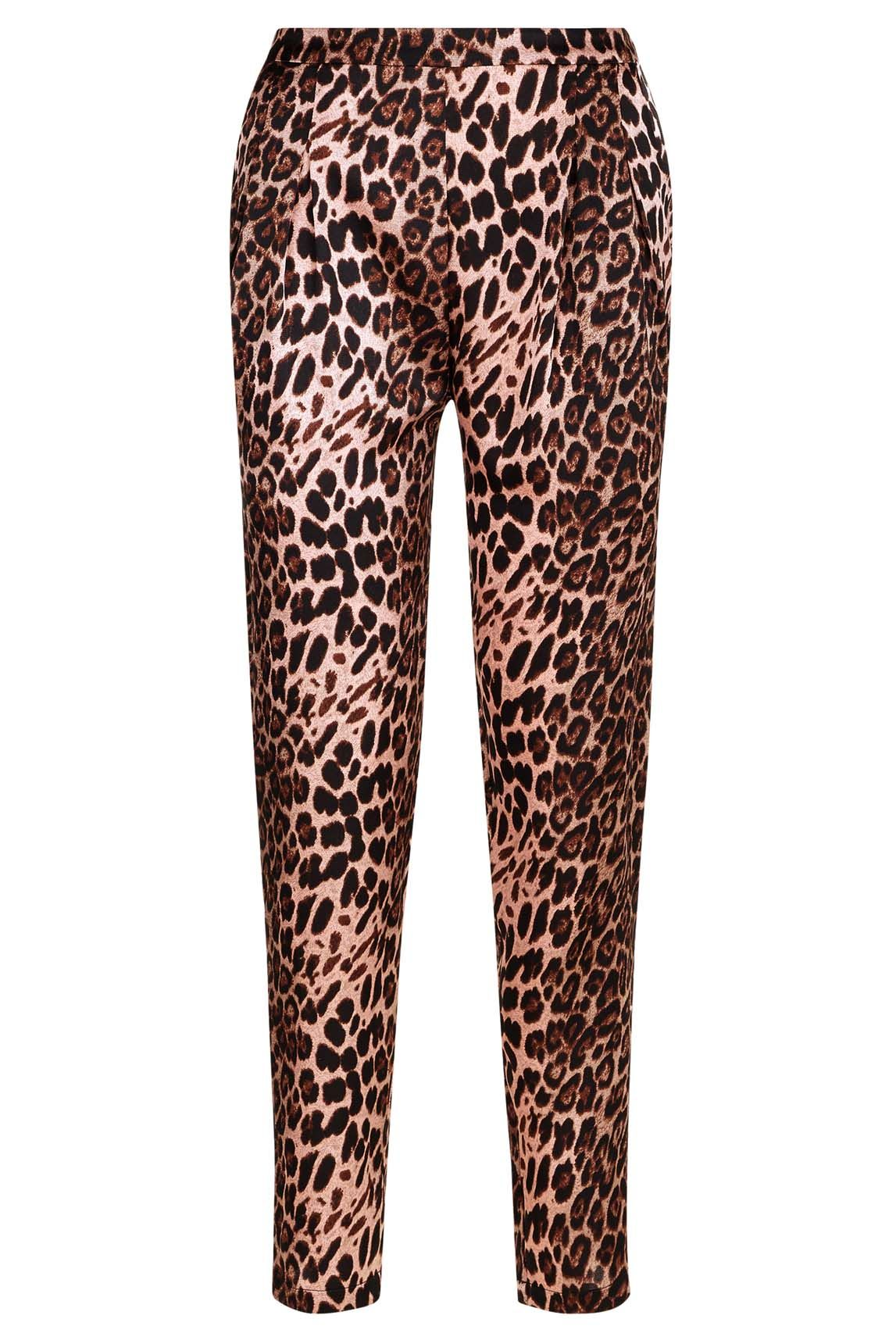 Animal Print Satin Tapered  Trousers in Pink