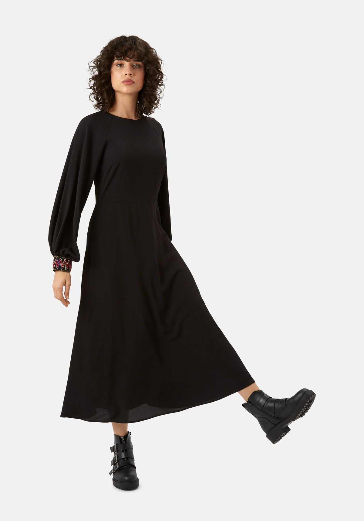 On The Cuff Embroidered Midi Dress in Black