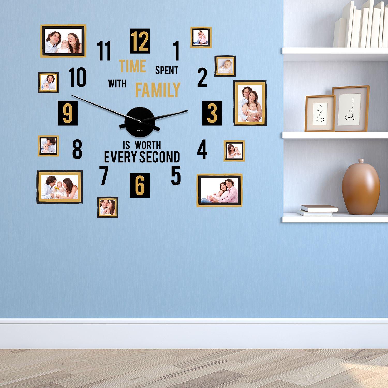 WC2100 - COM - WS5095 + WC2050 - Family Time Modern Photo Frames Wall Clock