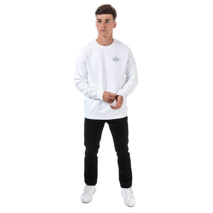 Men's Guess Breana Crew Sweatshirt in White