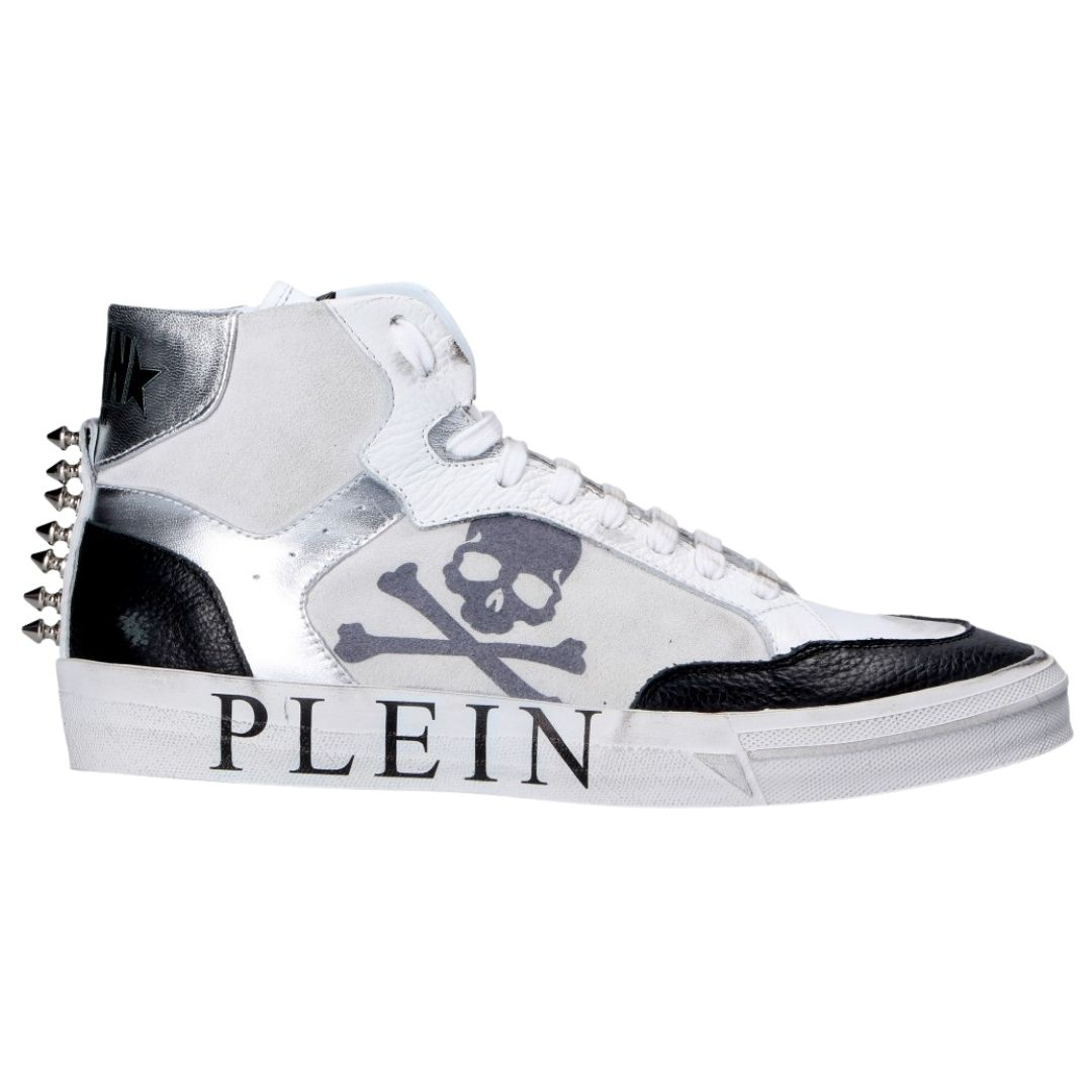 Philipp Plein Retrokickz High Top Leather White Trainers