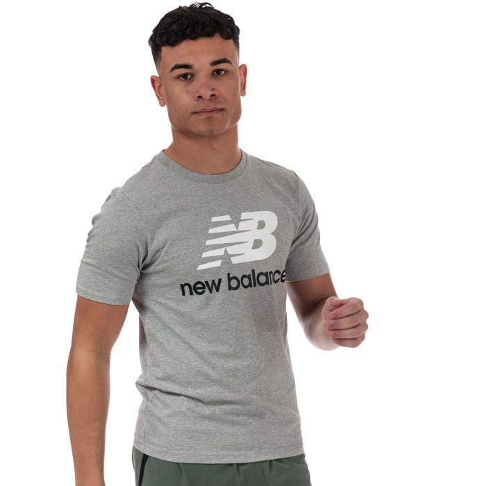 Men's New Balance Essentials Stacked Logo T-Shirt in Grey Marl