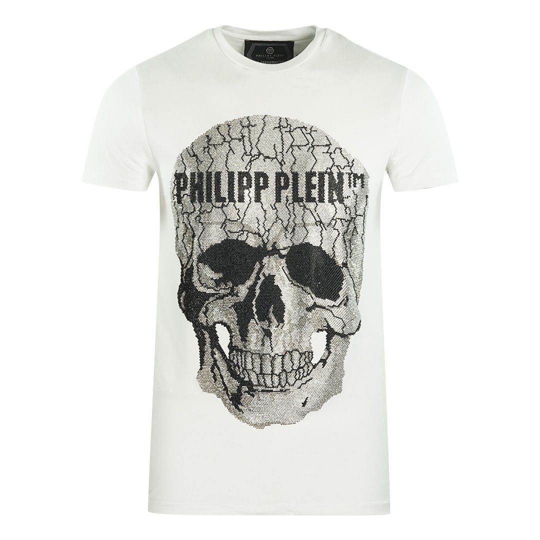 Philipp Plein Large Cracked Skull Logo White T-Shirt