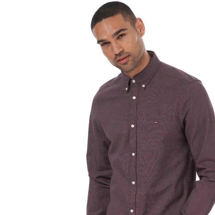 Men's Tommy Hilfiger Slim Textured Dobby Shirt Red Sin Red