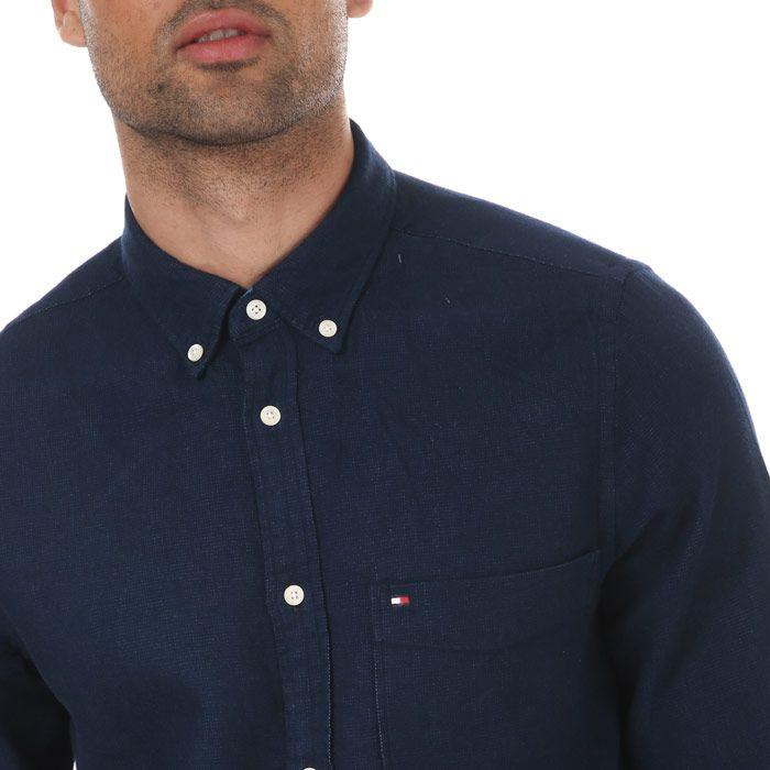 Tommy Hilfiger Men's Doubleface Herringbone Shirt in Navy