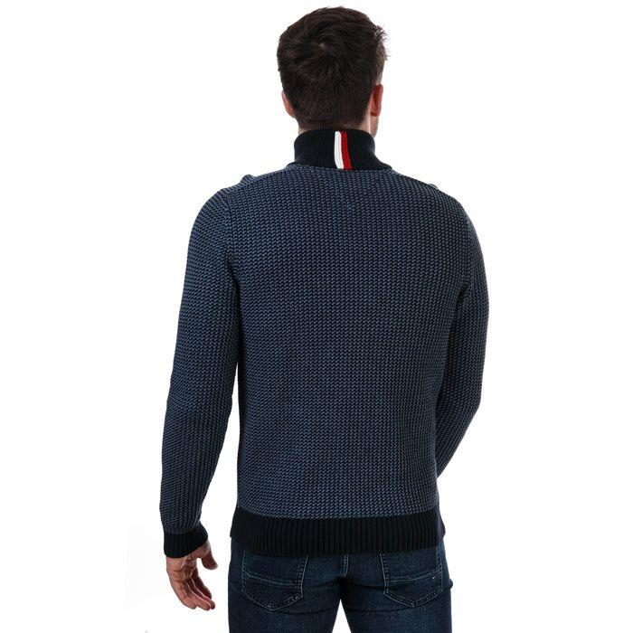 Tommy Hilfiger Men's Textured Half Zip Jumper in Blue