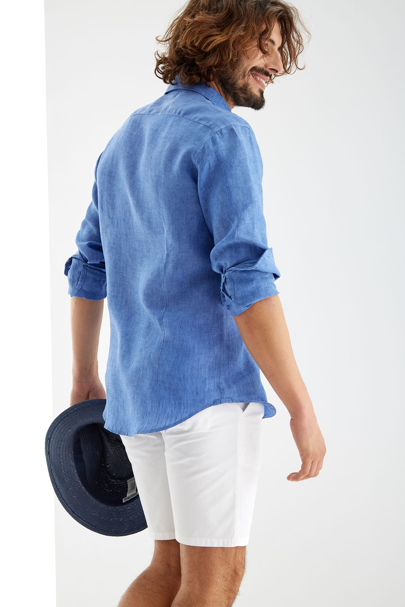 Men s Linen Plain Slim Fit Sports Shirt