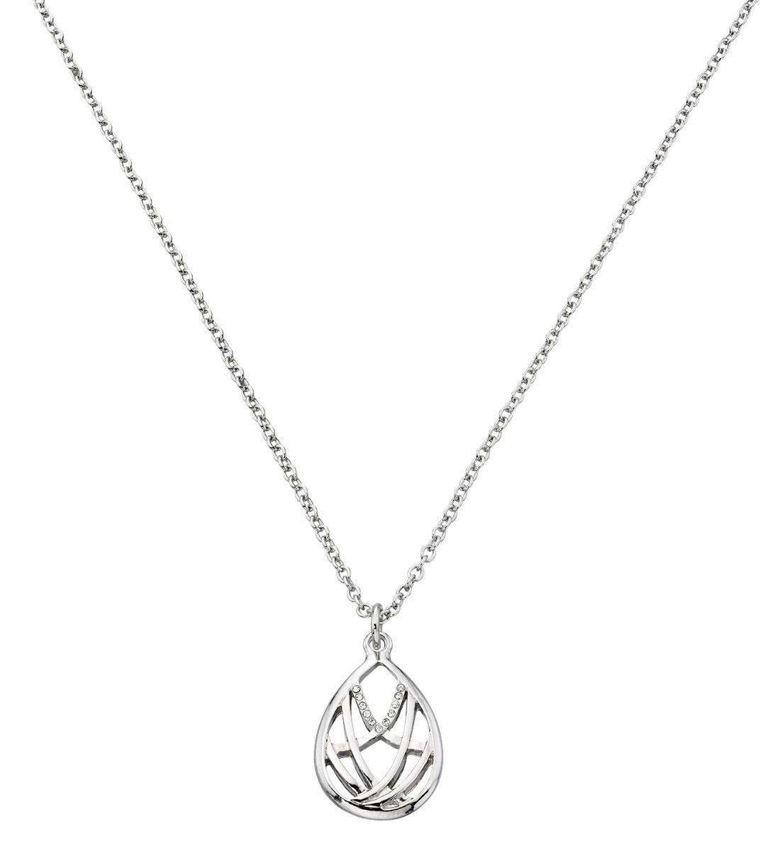Fiorelli Fashion Imitation Rhodium Plated Pave Crystal Teardrop Necklace 47cm + 5cm
