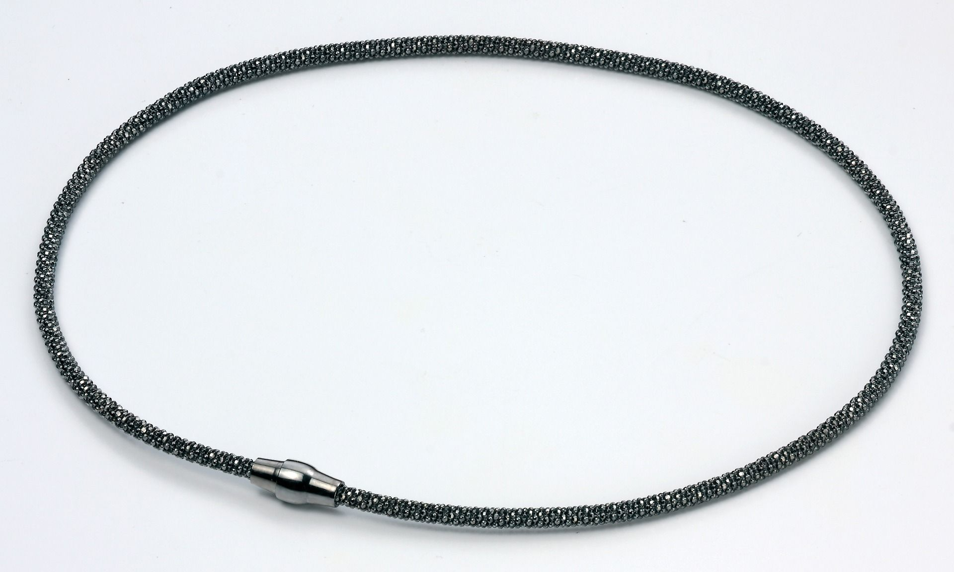 Elements Sterling Silver, Ladies, N3457, Ruthenium Diamond Bead Chain Necklace of Length 41cm