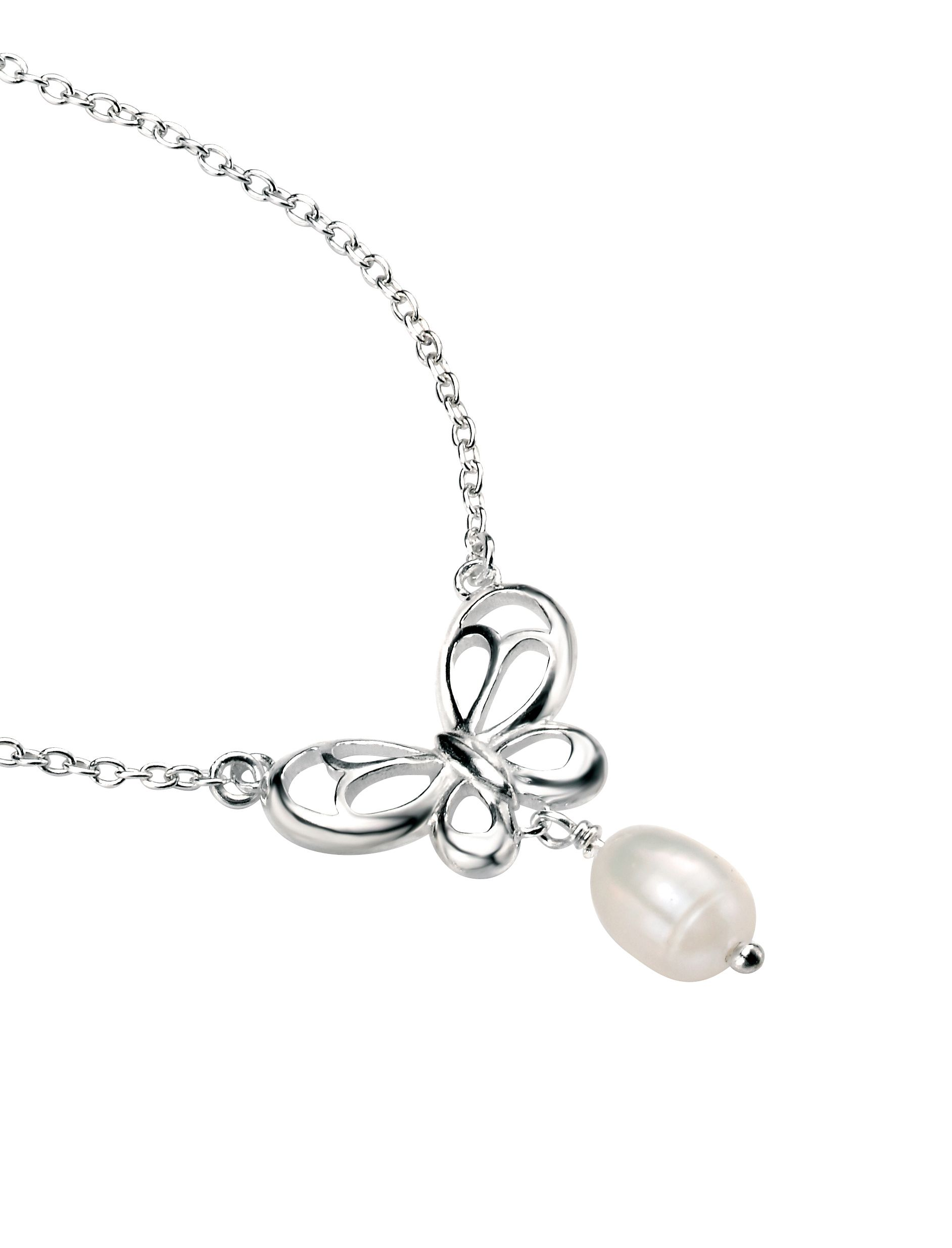 Elements Sterling Silver Women's N3535W Butterfly Necklace with Freshwater Pearl Drop Length 46cm