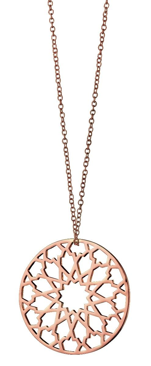 Fiorelli Fashion Rose Gold Plated Cut Out Pattern Round Pendant Necklace 65cm + 5cm