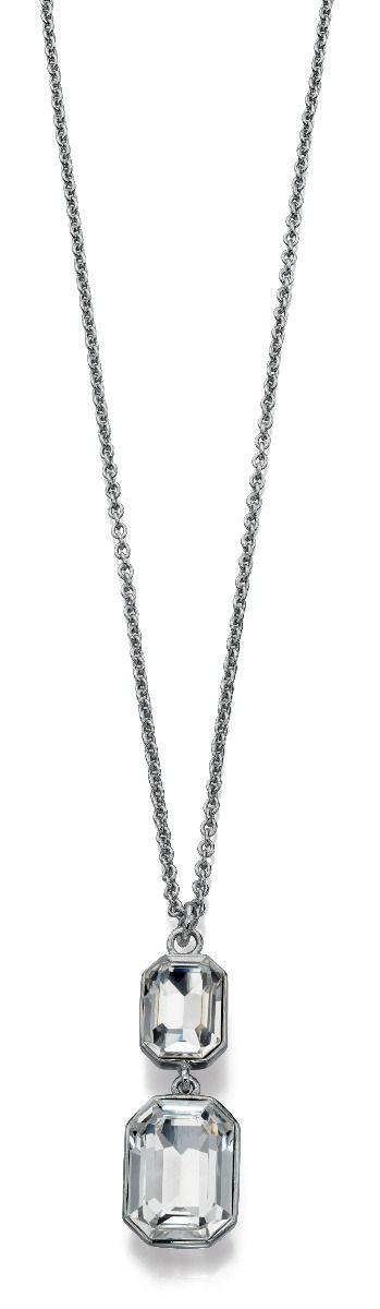 Fiorelli Fashion Imitation Rhodium Plated Crystal by Swarovski Rectangle Pendant Necklace 46cm + 5cm