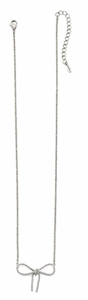 Fiorelli Fashion Imitation Rhodium Plated Bow Necklace 42cm + 5cm