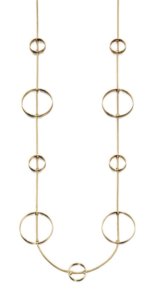 Fiorelli Fashion Gold Plated Open Circle Long Station Necklace 72cm + 5cm