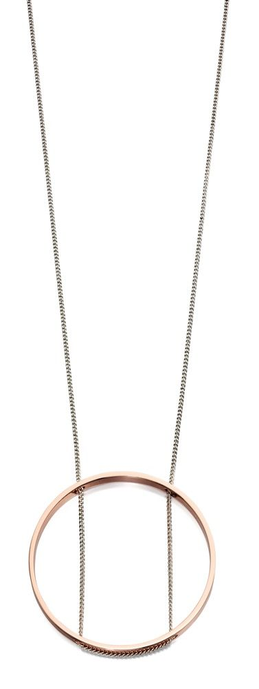 Fiorelli Fashion Imitation Rhodium & Rose Gold Open Circle Necklace 93cm + 5cm