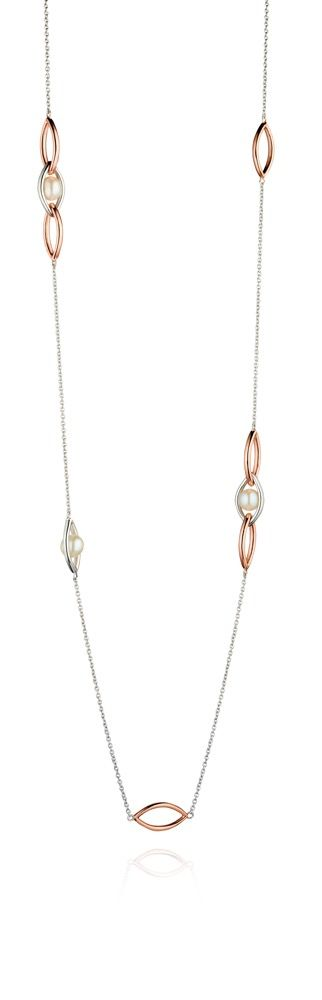 Fiorelli Silver Womens 925 Sterling Silver Rose Gold Plated Pearl Marquise Link Station Necklace of Length 80cm + 5cm