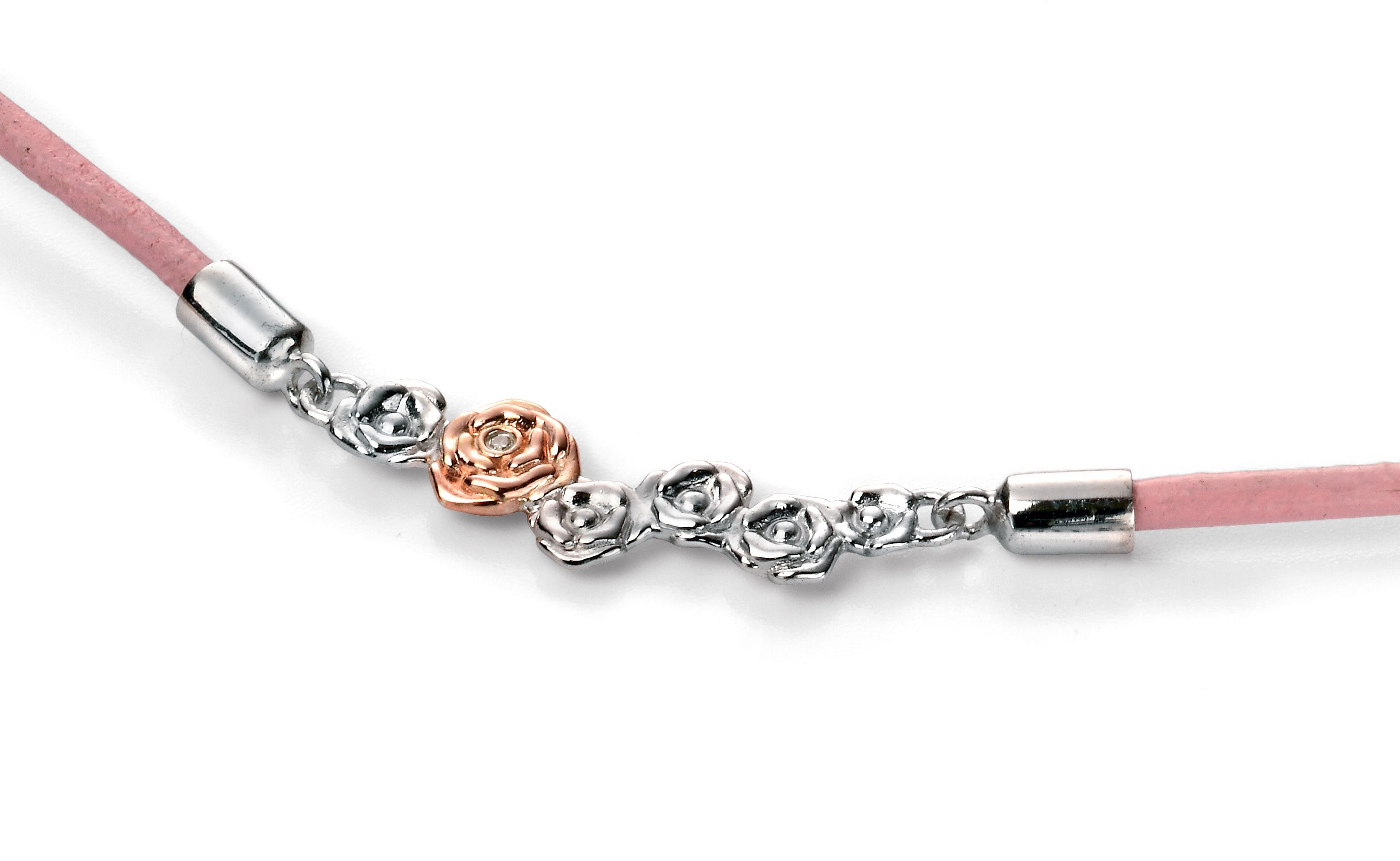 D for Diamond Pink Leather Roses Rose Gold Detail Necklace of Length 35-40cm