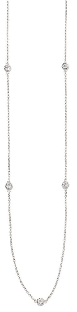 Elements Silver Womens 925 Sterling Silver Flower Bead Station Necklace of Length 80cm