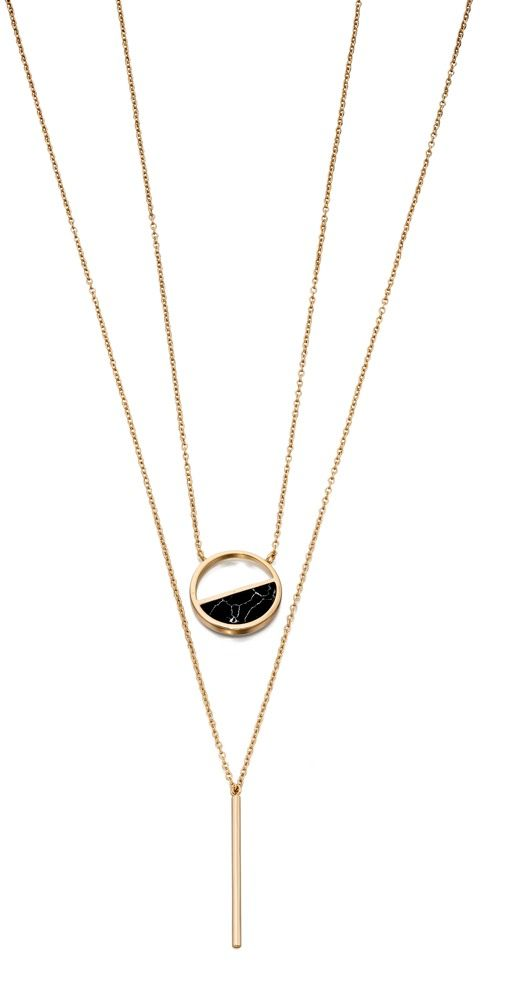 Fiorelli Fashion Gold Plated Black Marble Inlay Circle Double Row Necklace 59cm + 5cm