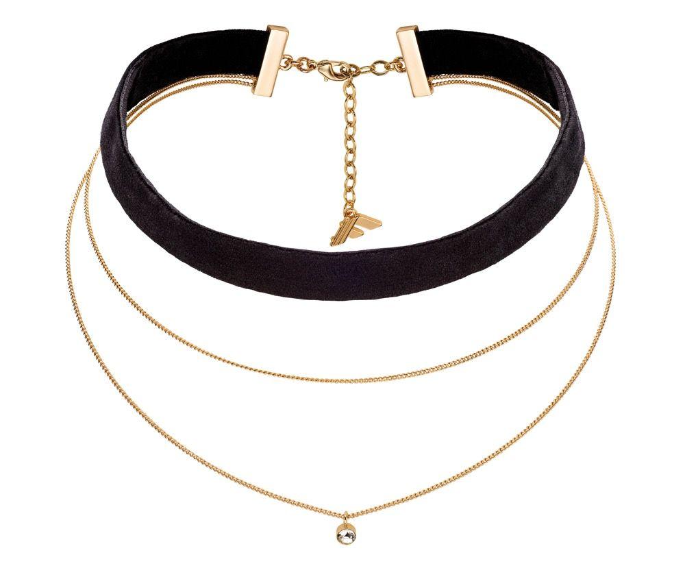 Fiorelli Fashion Gold Plated Chain & Black Velvet Crystal Charm Choker Necklace 28cm + 6cm