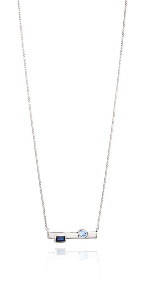 Fiorelli Silver Womens 925 Sterling Silver Blue Nano Crystal Bar Necklace of Length 41cm + 5cm