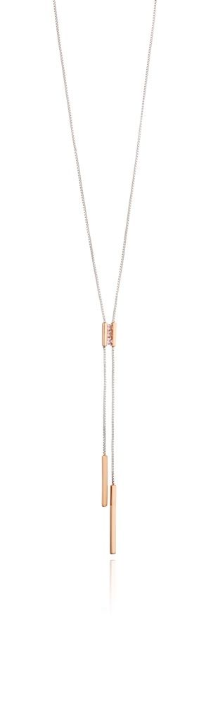 Fiorelli Silver Womens 925 Sterling Silver Pink Nano Crystal & Rose Gold Plate Y Shaped Lariat Necklace of Length 46cm + 5cm