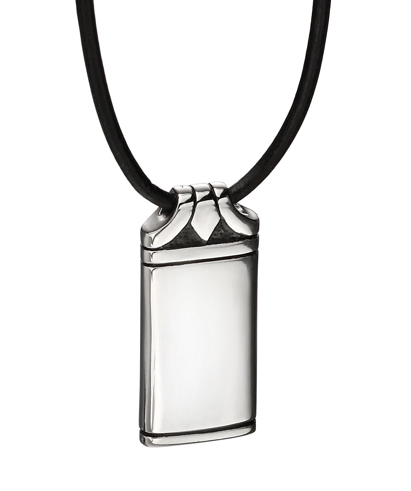 Fred Bennett Mens Black Leather & Stainless Steel Dog Tag Pendant Necklace of Length 50cm N4150