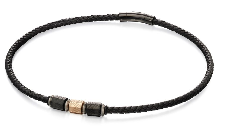 Fred Bennett Mens Black Leather & Stainless Steel PVD Bead Necklace of Length 51cm N4151