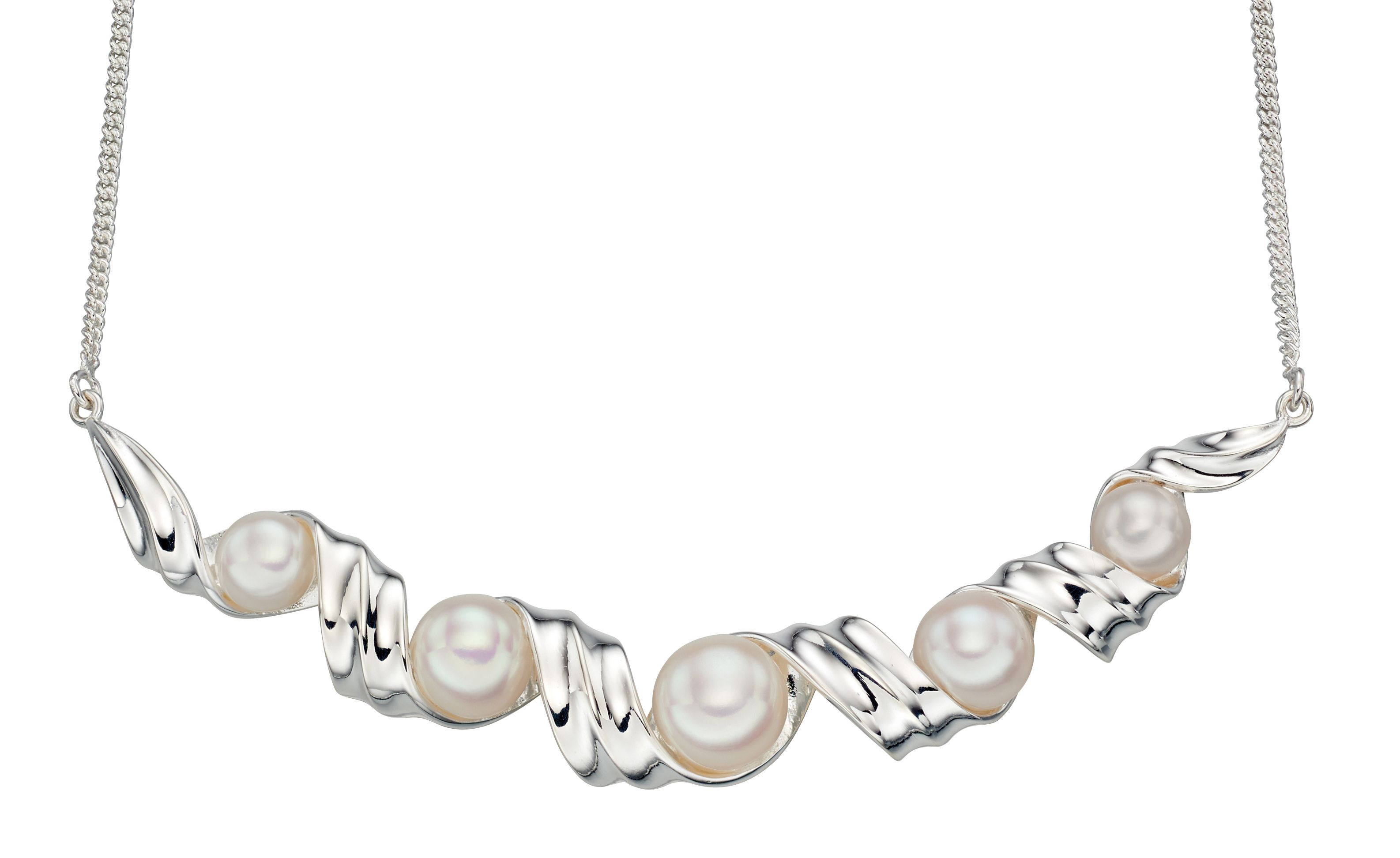 Elements Silver Womens 925 Sterling SIlver Freshwater Pearl Ribbon Twist Necklace of Length 46cm N4175W
