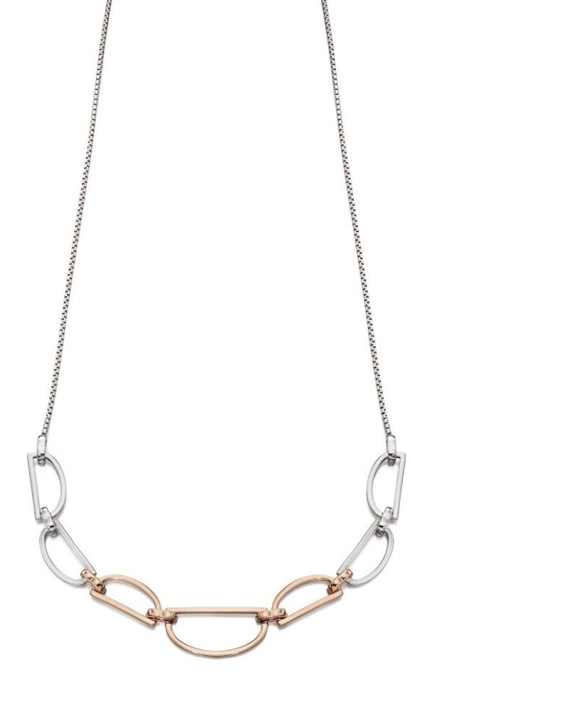 Fiorelli Silver Womens 925 Sterling Silver & Rose Gold Plating D Shape Ring Link Necklace of Length 43cm + 5cm
