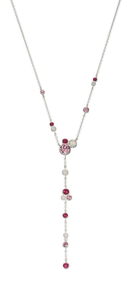 Elements Silver Sterling Silver Pink & Opal Crystal by Swarovski Y-Shaped Necklace of Length 46cm N4210