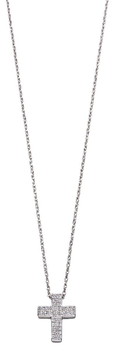 Fiorelli Silver Womens 925 Sterling Silver Pave Cubic Zirconia Cross Necklace of Length 40cm - 45cm
