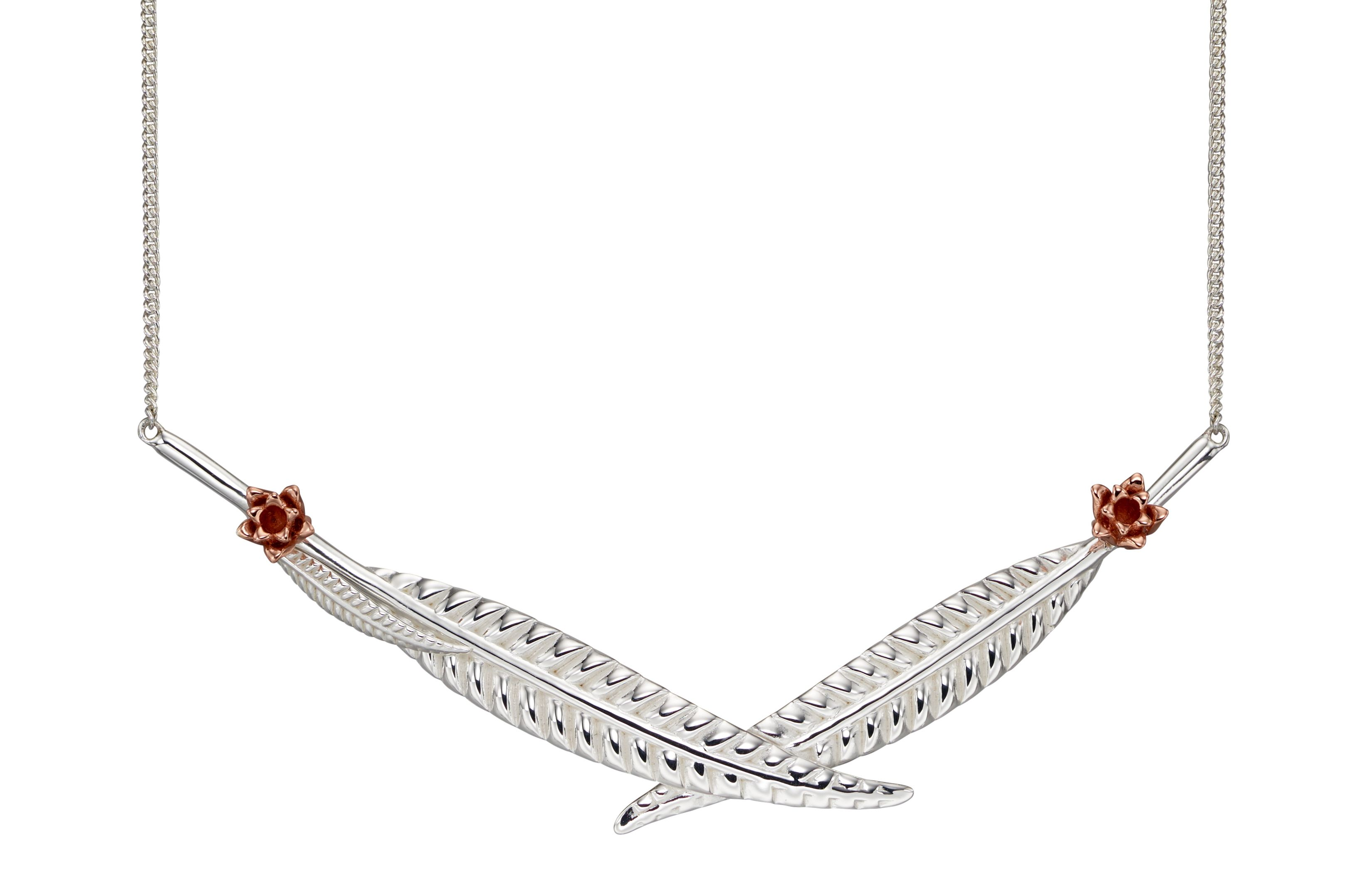 Elements Silver Womens 925 Sterling Silver and Rose Gold Plate Wheat & Flower Statement Necklace of Length 46cm