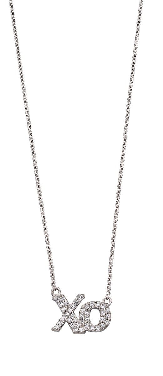 Fiorelli Silver Womens 925 Sterling Silver Cubic Zirconia Xo Symbol Necklace of Length 40cm + 5cm