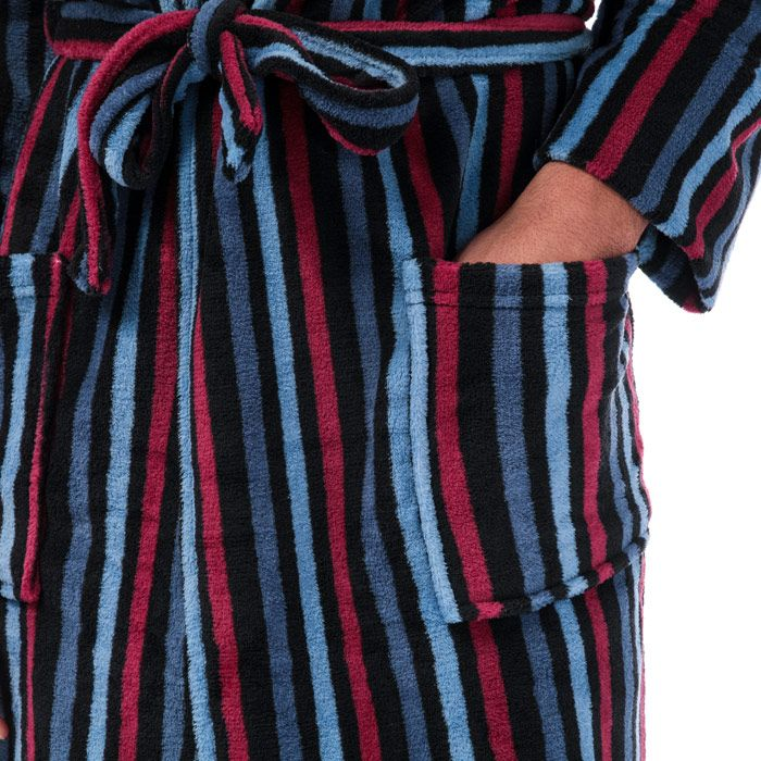 Men's Ben Sherman Becker Striped Dressing Gown in Navy