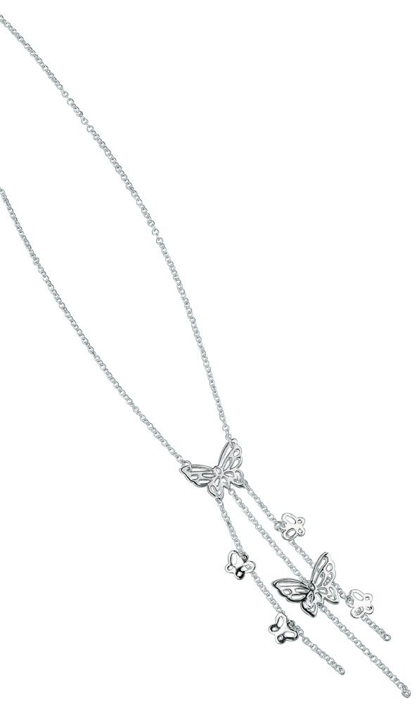 Elements Sterling Silver Ladies 925 Sterling Silver Butterfly Multi Charm Strand Drop Necklace of Length 41cm